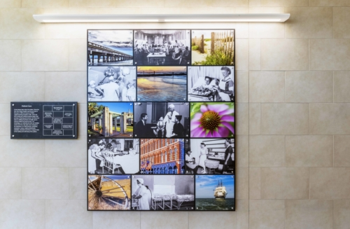 The full 'Patient Care' photo collage panel and description plaque assembly in the Clinical Services Wing of UTMB.